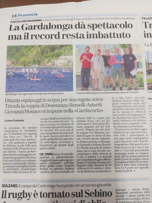 Giornale di Brescia 07.05.2018 - Grande il nostro Giuliano e la sua canoa!